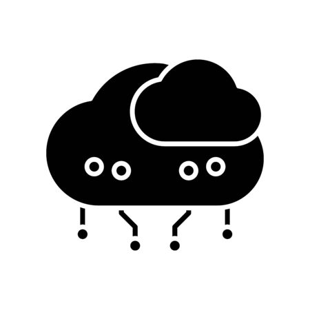 Cloud system black icon, concept illustration, glyph symbol, vector flat sign.