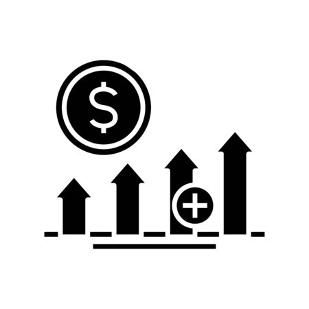 Profit growth black icon, concept illustration, glyph symbol, vector flat sign.