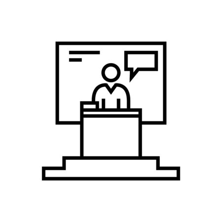 Meeting message line icon, concept illustration, outline symbol, vector sign, linear symbol.