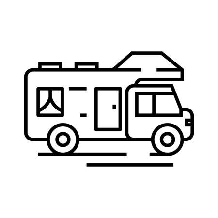 Touristic bus line icon, concept illustration, outline symbol, vector sign, linear symbol. Vector Illustration