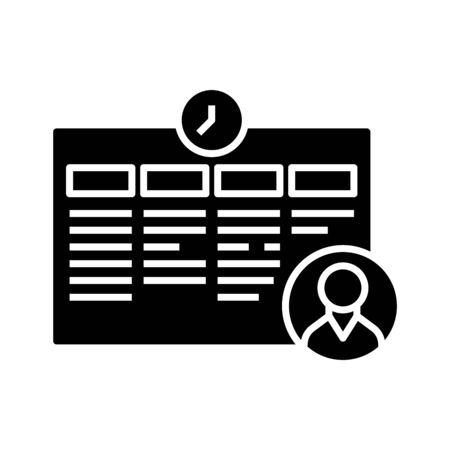 Data reminder black icon, concept illustration, glyph symbol, vector flat sign.