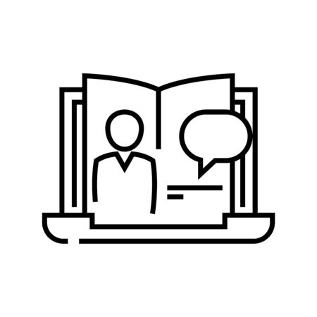 Online book line icon, concept illustration, outline symbol, vector sign, linear symbol. Ilustração