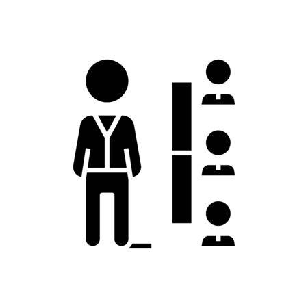 Staff black icon, concept illustration, glyph symbol, vector flat sign. 写真素材 - 143285461