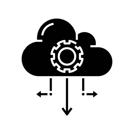 Cloud files black icon, concept illustration, glyph symbol, vector flat sign.