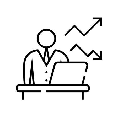 Online work line icon, concept illustration, outline symbol, vector sign, linear symbol.