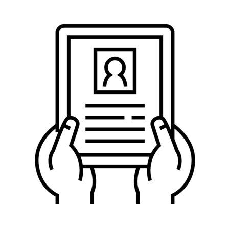 Paper application line icon, concept illustration, outline symbol, vector sign, linear symbol.