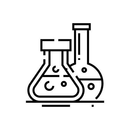Medicine fluid line icon, concept illustration, outline symbol, vector sign, linear symbol.