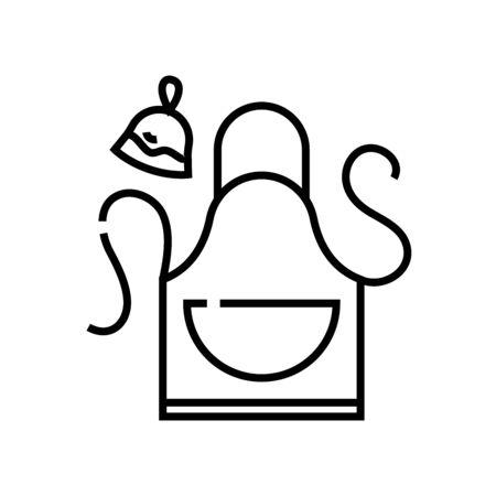 Kitchen apron line icon, concept illustration, outline symbol, vector sign, linear symbol.