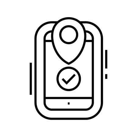 Online map line icon, concept illustration, outline symbol, vector sign, linear symbol.