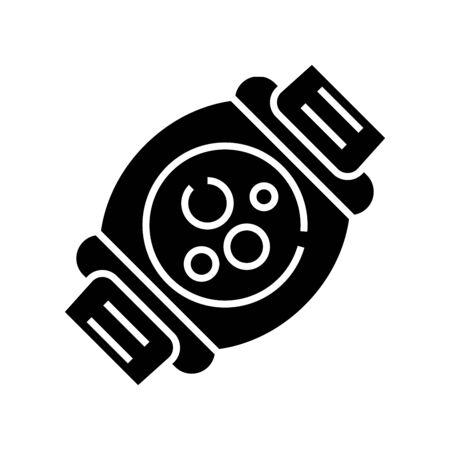Smart clock black icon, concept illustration, glyph symbol, vector flat sign.