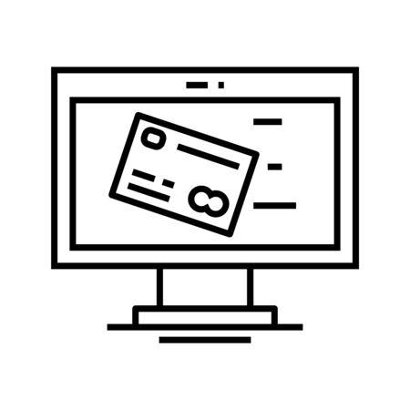 Online payment line icon, concept illustration, outline symbol, vector sign, linear symbol. Ilustração