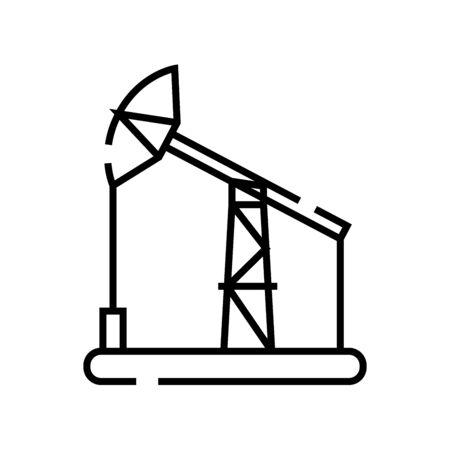 Oil pump line icon, concept illustration, outline symbol, vector sign, linear symbol.
