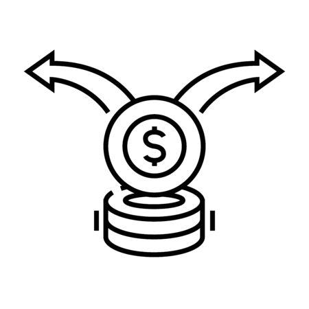 Money transfer (6) line icon, concept illustration, outline symbol, vector sign, linear symbol.