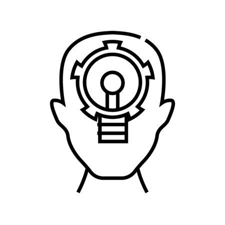 Key task line icon, concept illustration, outline symbol, vector sign, linear symbol. Ilustração