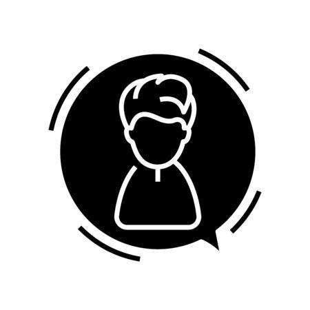 Speaking boy black icon, concept illustration, glyph symbol, vector flat sign. Ilustração