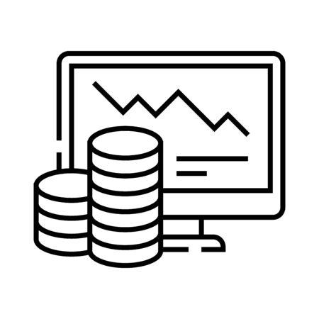 Online charts line icon, concept illustration, outline symbol, vector sign, linear symbol.