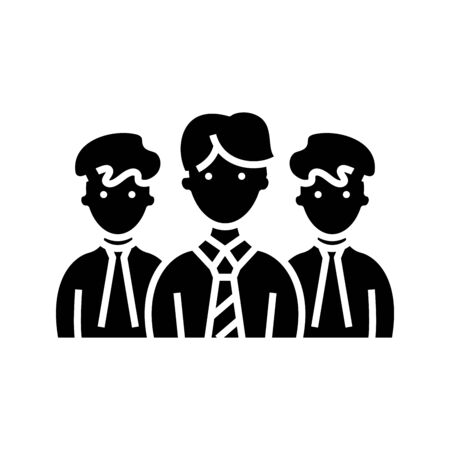 Collective of employees black icon, concept illustration, glyph symbol, vector flat sign.