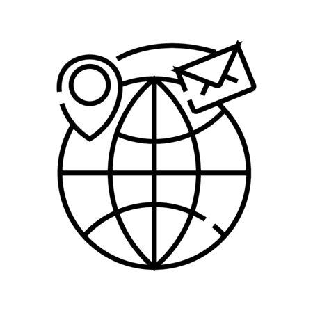 International messaging line icon, concept illustration, outline symbol, vector sign, linear symbol.