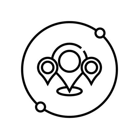 Map location line icon, concept illustration, outline symbol, vector sign, linear symbol. Ilustração