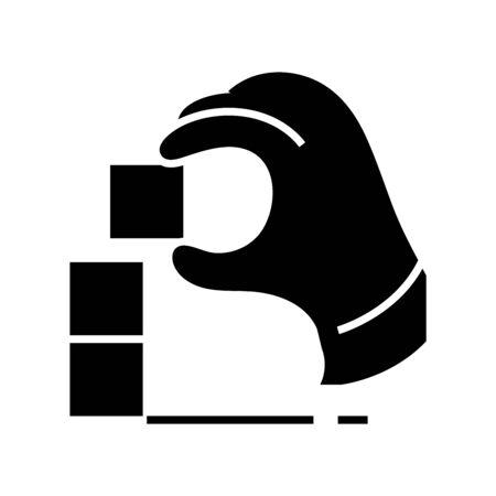 Game puzzle black icon, concept illustration, glyph symbol, vector flat sign. Ilustração