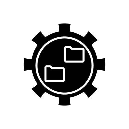 Files synchronisation black icon, concept illustration, glyph symbol, vector flat sign.