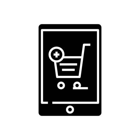 Online basket black icon, concept illustration, glyph symbol, vector flat sign.