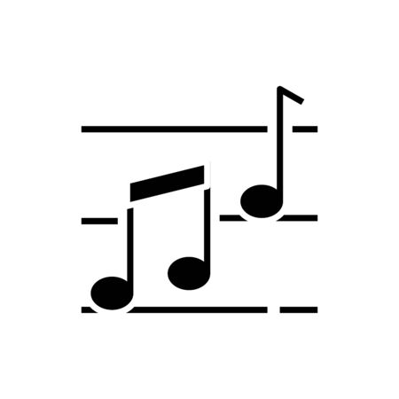 Music notes black icon, concept illustration, glyph symbol, vector flat sign.