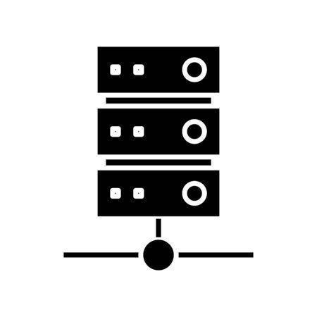 Network data server black icon, concept illustration, glyph symbol, vector flat sign. Ilustração
