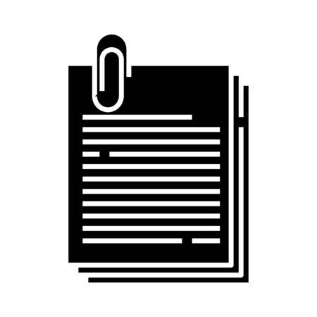 Office notes black icon, concept illustration, glyph symbol, vector flat sign. Ilustração