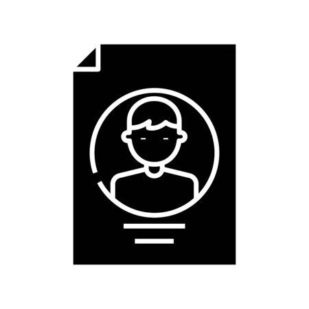 Profile black icon, concept illustration, glyph symbol, vector flat sign. Ilustração