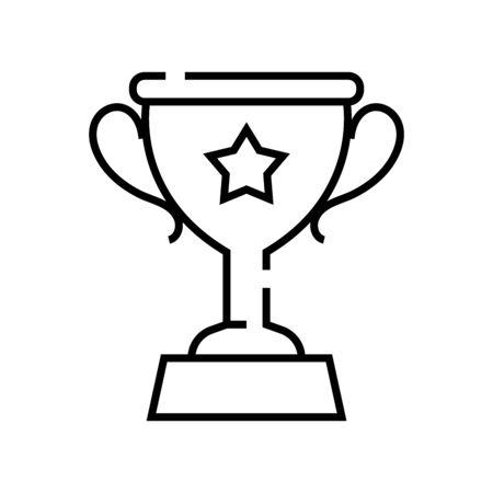 Winner cup line icon, concept illustration, outline symbol, vector sign, linear symbol. Ilustração
