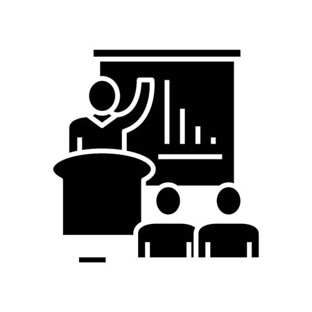 Practicing coach black icon, concept illustration, glyph symbol, vector flat sign. Ilustração
