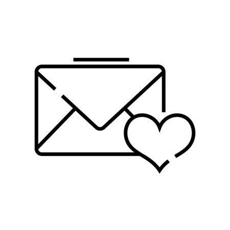 Love letter line icon, concept illustration, outline symbol, vector sign, linear symbol.