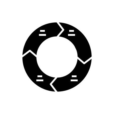 Cycling tasks black icon, concept illustration, glyph symbol, vector flat sign.