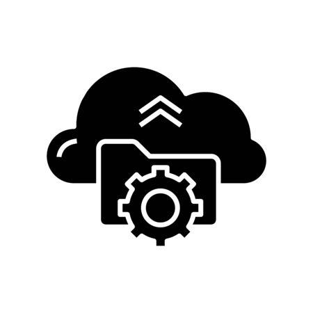 Cloud technologies black icon, concept illustration, glyph symbol, vector flat sign. Ilustração