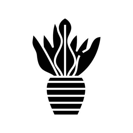 Plant vase black icon, concept illustration, glyph symbol, vector flat sign.
