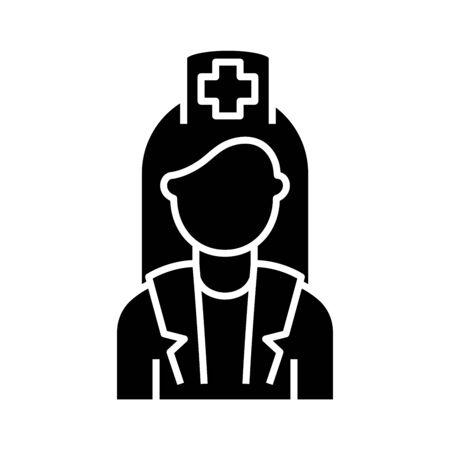Nurse black icon, concept illustration, glyph symbol, vector flat sign. Ilustração