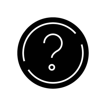 Question black icon, concept illustration, glyph symbol, vector flat sign.