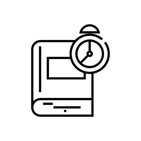 Learning time line icon, concept illustration, outline symbol, vector sign, linear symbol.