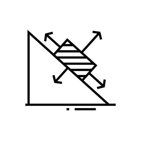 Maths chart line icon, concept illustration, outline symbol, vector sign, linear symbol.