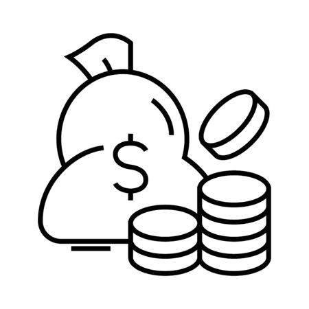 Money bag line icon, concept illustration, outline symbol, vector sign, linear symbol. Imagens - 143850435