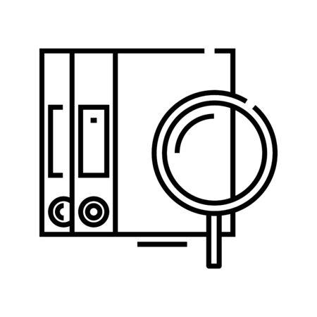 Searching files line icon, concept illustration, outline symbol, vector sign, linear symbol. Ilustração