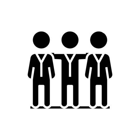 Team work black icon, concept illustration, glyph symbol, vector flat sign.