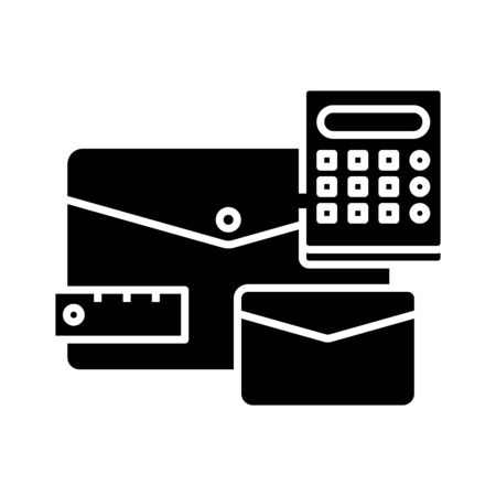 Office supplies black icon, concept illustration, vector flat symbol, glyph sign.