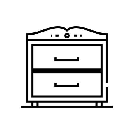 Bedroom closet line icon, concept sign, outline vector illustration, linear symbol. Imagens - 144468793