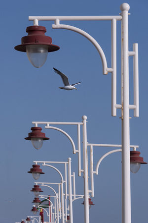 street lamps: Street lamps with a clear blue sky Stock Photo