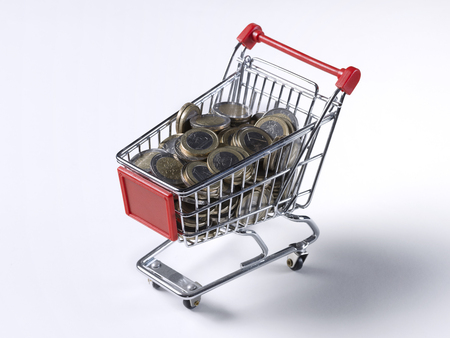 coin silver: Shopping cart with some coins inside
