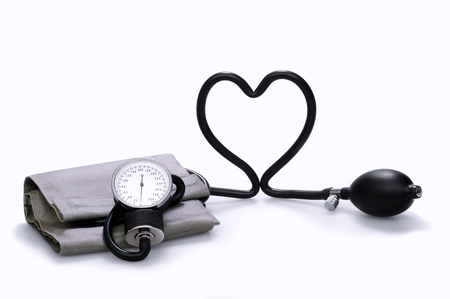 sphygmomanometer: Sphygmomanometer that forms a heart, on a white background