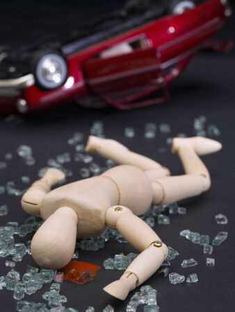 accident dead: Dummy representing a car accident