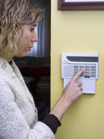 home security alarm: Pushing Alarm. Home security